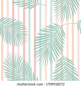 girly striped tropical pattern, palm leaves seamless vector floral background. Exotic plant on pink stripes. spring nature jungle print. Leaves of palm tree on paint lines. ink brush strokes.