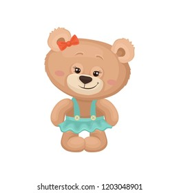 Girly teddy bear with pink cheeks and shiny eyes dressed in turquoise skirt. Cute plush toy. Flat vector for poster or postcard