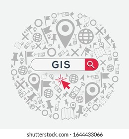 (GIS , Geographic Information System) Word written in search bar,Vector illustration