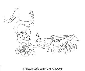 Gita line art vector illustration