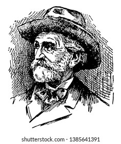 Giuseppe Verdi, 1813-1901, he was an Italian opera composer, famous for Aida and Il Trovatore, vintage line drawing or engraving illustration