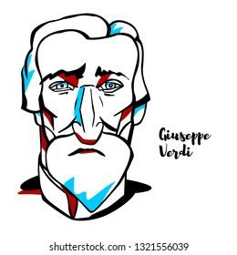 Giuseppe Verdi engraved vector portrait with ink contours. Italian opera composer.