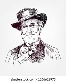 Giuseppe Verdi famous vector sketch portrait