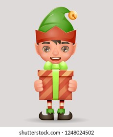 Give away bestow gift box christmas elf boy santa claus helper new year cartoon 3d character design vector illustration