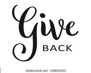 GIVE BACK hand lettering banner