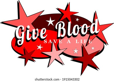 Give blood save a life mid-century modern label