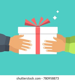 Give gift. People give each other gifts. White cardboard box with red ribbon and bow. Giving, receiving surprise. Vector illustration flat design. Delivery gifts for holiday. Isolated on background.