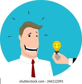 Give an idea to  businessman, flat design