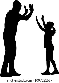 give me five, father and daughter body, silhouette vector