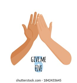 Give me five idea concept. Person touch hand of other person. Vector
