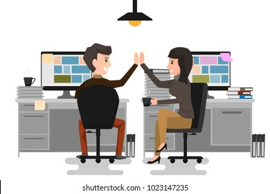 Give me high-five! Two business man and woman giving high-five and holding coffee cups with smile while sitting on the chair at office. coworking concept. cartoon character vector illustration.