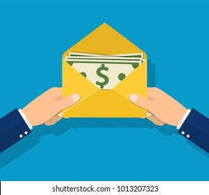 Give a salary. Wages in the envelope. Payout. Businessman holding in hand an envelope with money. Transfer money. Vector illustration in flat style