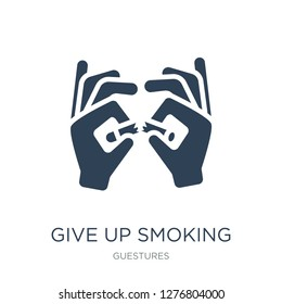 give up smoking icon vector on white background, give up smoking trendy filled icons from Guestures collection, give up smoking vector illustration