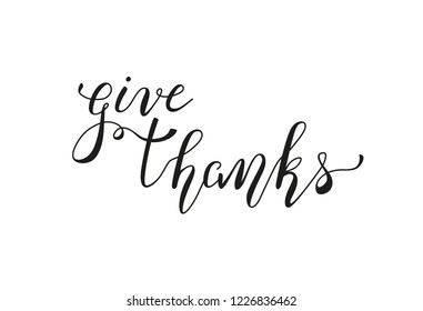 Give Thanks handwritten lettering isolated on white background