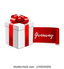 Giveaway advertisement banner design, calligraphic text message and realistic gift box, vector illustration