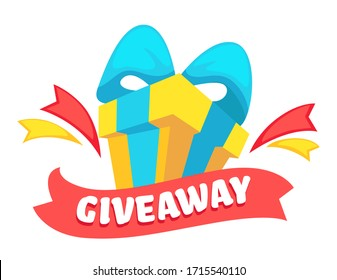 Giveaway advertising for social media, isolated banner with present in box with ribbon bow. present for followers or subscribers of page, giving product for testing. Freebie from owner vector