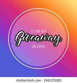 giveaway announcement, banner, card for your blod. Lettering giveaway in fashion colors