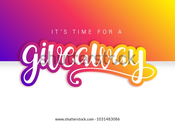 Giveaway Banner Card Lettering Colorful Design Stock Vector