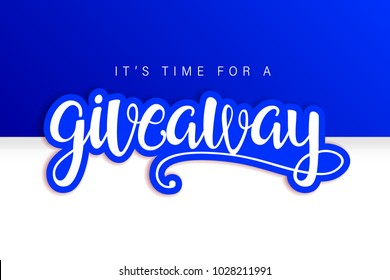 Giveaway Banner Card with Lettering. Contest. Winner. Blue design. Compatible with jpg, png, eps, cdr, svg, pdf, ico, gif.