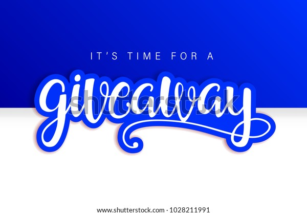 Giveaway Banner Card Lettering Contest Winner Stock Vector (Royalty