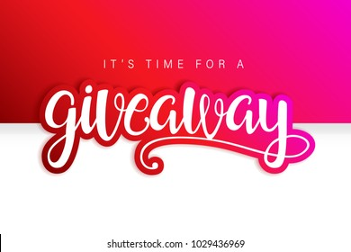 Giveaway Banner Card with Lettering. Red design. Compatible with jpg, png, eps, cdr, svg, pdf, ico, gif.