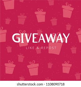 "Giveaway banner design for social media marketing. Template for promotion of social network account by giving a gift. Hand drawn lettering illustration with phrase ""GIVEAWAY""."