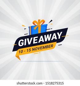 Giveaway banner template design for social media post