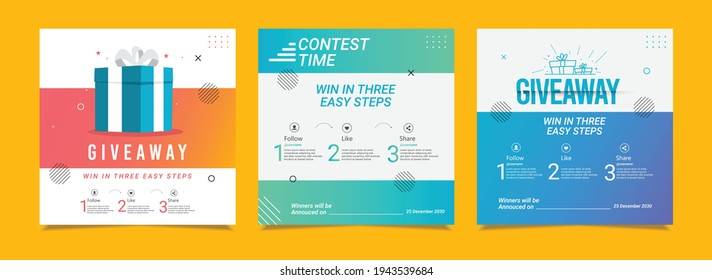 Giveaway banners. Post and stories design template.