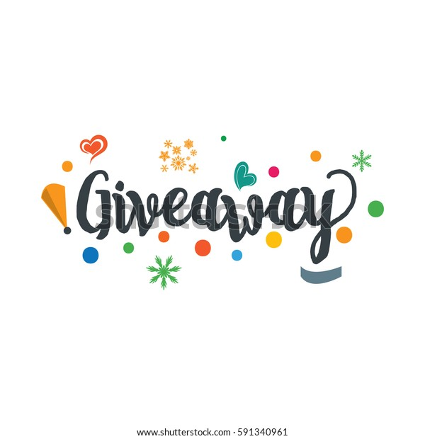 Giveaway Design Lettering Social Media Campaign Stock Vector