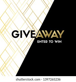 Giveaway. Enter to win. Vector luxury banner template