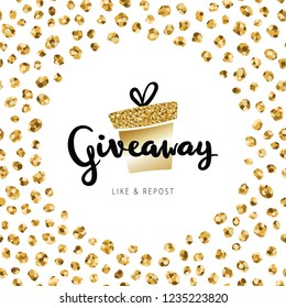 "Giveaway lettering text on banner banner Christmas card. Golden gift box with calligraphy text ""giveaway"" in round frame of small gold circles. Confetti banner design for holidays giveaway"