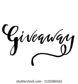 Giveaway Lettering text. Typography for promotion in social media isolated on white background. Free gift raffle, win a freebies. Vector advertising.