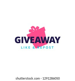 Giveaway logo template design for social media post or website banner. Gift box icon vector illustration with modern typography text style.
