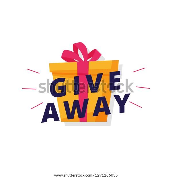 Giveaway Logo Template Design Social Media Stock Vector (Royalty