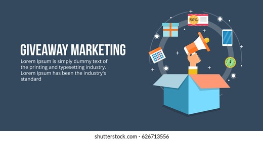 Giveaway marketing, brand promotion, targeted marketing flat design vector banner with icons and texts isolated on dark background