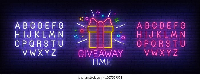 Giveaway neon sign, bright signboard, light banner. Giveaway logo, emblem and label. Neon sign creator. Neon text edit