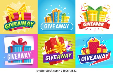 Giveaway post. Give away gifts, winner reward and gift prize draw social media posts. Announcement gifts posters, internet blogger or shop random quiz event flyer vector illustration set
