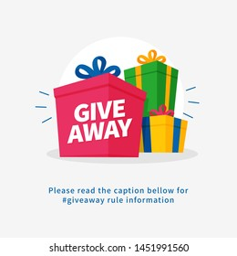 Giveaway poster for social media post graphic template. Many gift box vector illustration for share happiness concept design.