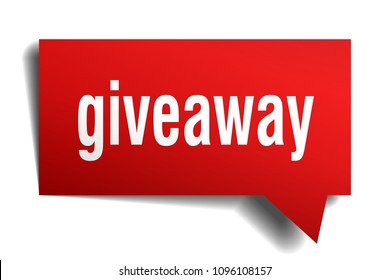 giveaway red 3d square isolated speech bubble