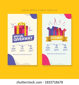Giveaway social media contest vector template.