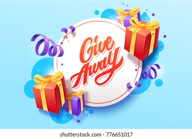 Giveaway vector lettering illustration. Hand drawn phrase. Handwritten modern brush calligraphy for banner  and greeting card.