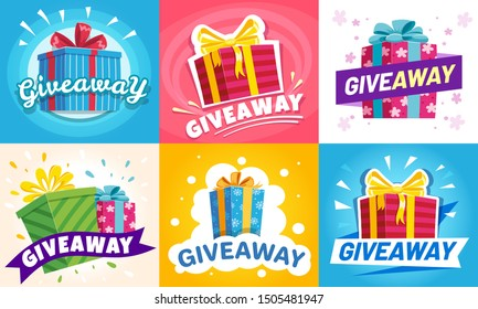 Giveaway winner poster. Gift offer banner, giveaways post and gifts prize flyer. Quiz posters, contest announcement or media event post vector illustration set