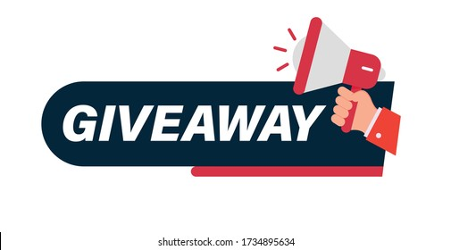 Giveaway ,Giveaway winners poster template for social media posting or website.Vector, Red Giveaway Seal, Mark, Label Design Template