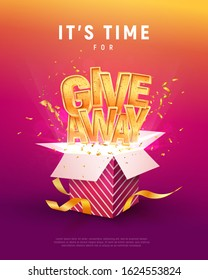Giveaway word above open box with confetti explosion inside on colorful background illustration poster template. Give away text and giftbox isolated vector object