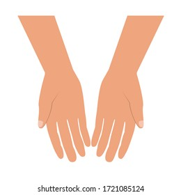 Giving or begging hands icon. Vector flat illustration