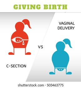 Giving birth, vaginal delivery and c-section, icons, vector illustration