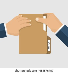Giving a document. Folder documents in the hands of a businessman. Holding paper. Vector illustration flat design style.