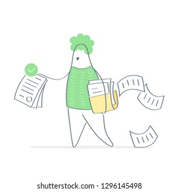 Giving a document, request processed, prepared forms, documents, report, data. Businessman carrying file folders with documents and ready document with green stamp. Outline isolated vector on white