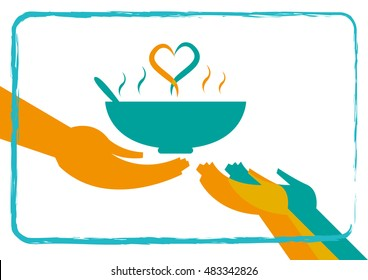 Giving Food to the Hungry concept with a heart formation from hot soup. Editable Clip Art.