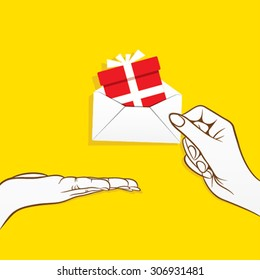 giving gift of celebration concept design vector